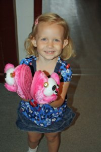 Kirsten's first day at school with her new slippers