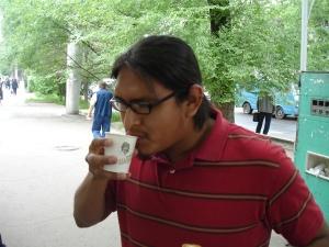 Derrick drinking shoro