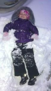 making a snow angel
