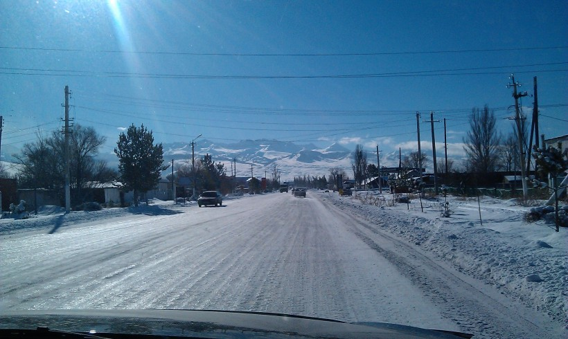 View coming back from the gas station in Karakol