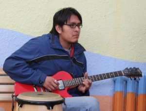 me playing the red guitar