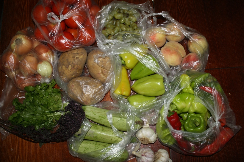 summer produce from the central bazaar in Karakol Kyrgyzstan